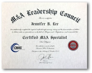 CMAS sample certificate